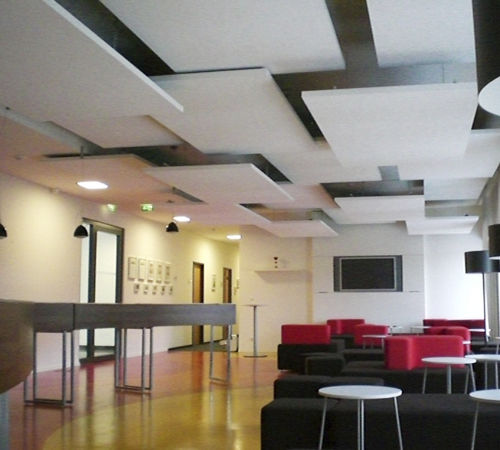 Plafond acoustique cde n goces - Faux plafond suspendu en dalles isolantes ...