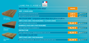 Promotion terrasse - Lame Pin classe 4 -